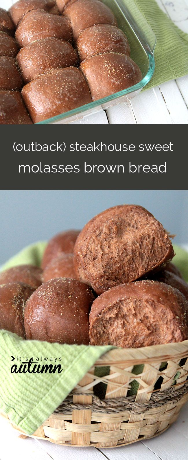 Brown-Bread-Sweet-Molasses-Steakhouse-Outback-Copycat-Recipe-Dinner-Rolls by itsalwaysautumn #Bread #Rolls #Honey #Cocoa