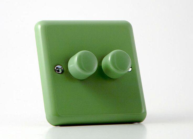 Retro Beryl Green Double Dimmer Switch - Varilight V-Pro Series 2 Gang (Double), 1 or 2 Way 2x250 Watt (Trailing Edge) Dimmer Switch JYP252.BG