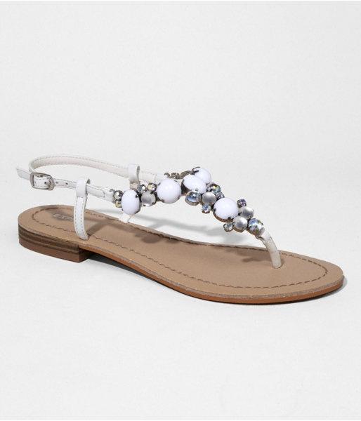 Express Womens Jeweled Tstrap Sandal True White, 8