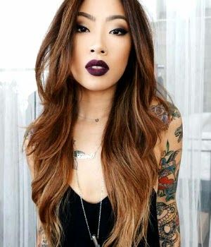 claire marshall tattoos girl dark lipstick asian girl