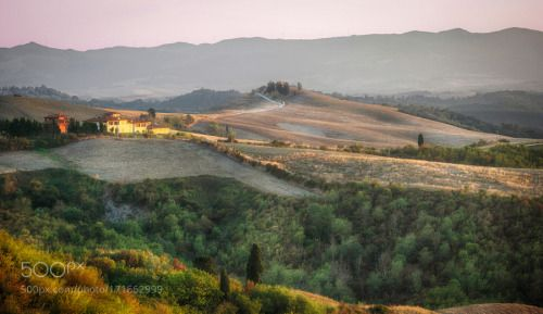 Around Castelfalfi by PaoloDeri  mountains houses Nature Landscape Trees Green Toscana Italy Landscapes Sky Sunset Italia Italian Hil