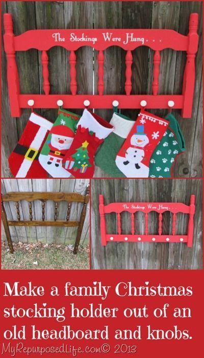 Easy Christmas project-repurposed headboard into a cute stocking holder.  MyRepurposedLife.com