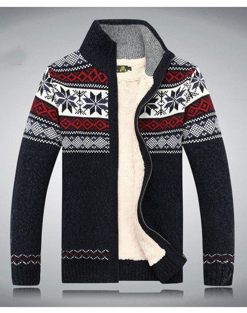 AFS JEEP Fashion Winter Wool Cardigan Masculino Men's Casual Thick Warm Sweater Men