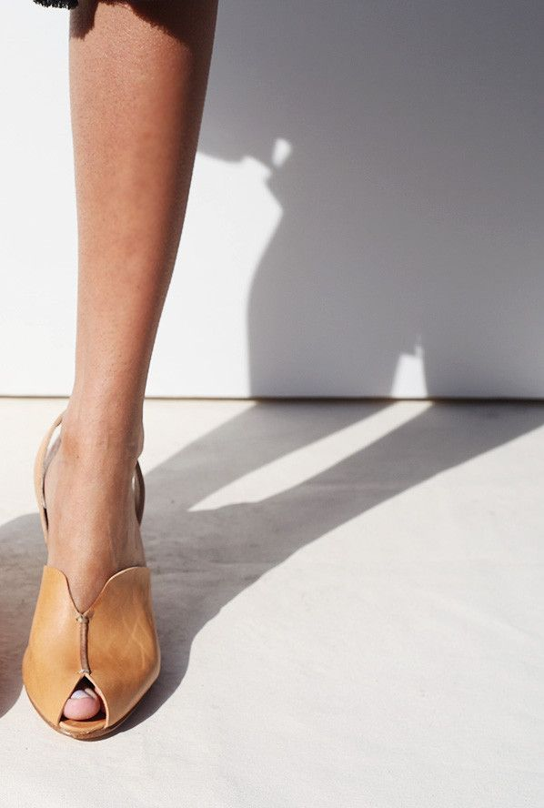 Tan shoes, sling back