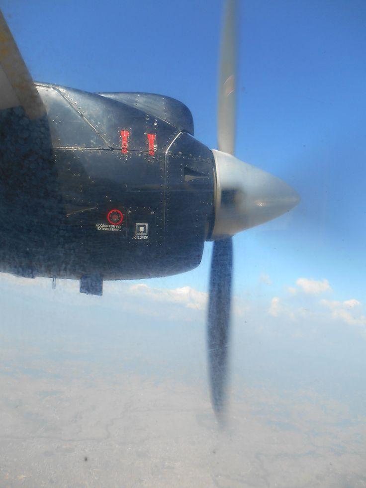 In het vliegtuig naar Lukla
