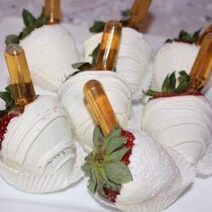 Yummy, drunken Strawberries! Hennessy shot!