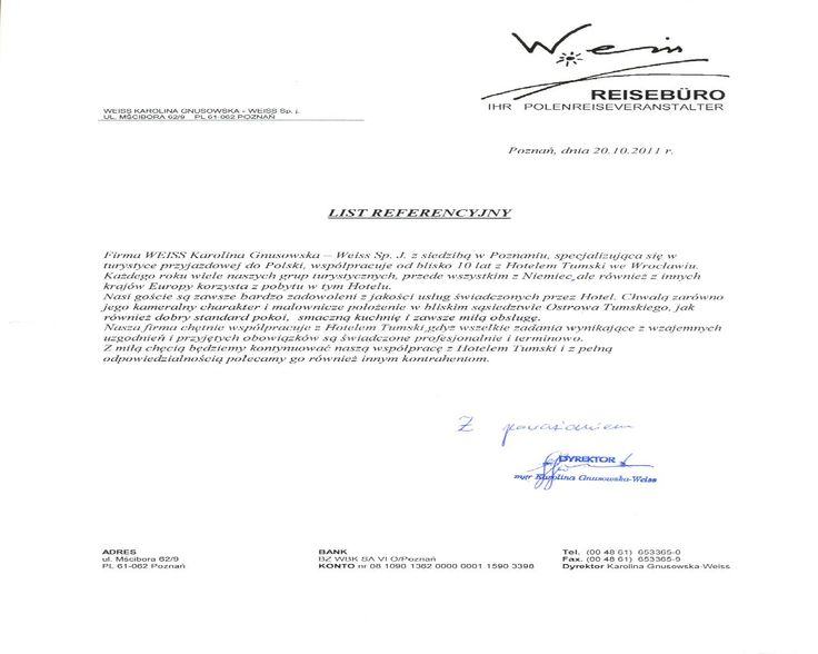 Recommendation of Weiss company