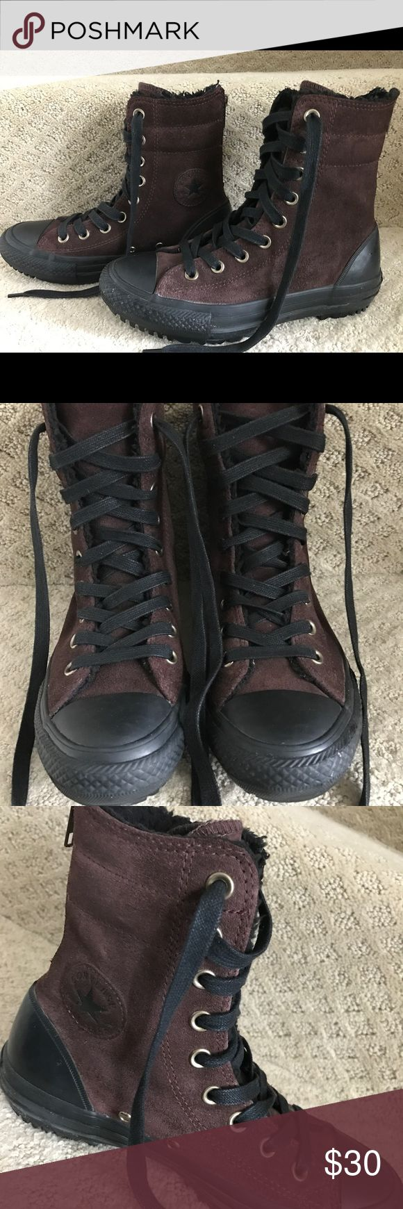 Converse Women's Chuck Taylor All Star A classic and timeless design. Upper - Leather. Lining - Faux Fur for snug fit. Outsole - Rubber. The rear of the shoe is provided with a zipper closure. Looks like brand new and in good condition. Worn 3 times only! Converse Shoes Ankle Boots & Booties