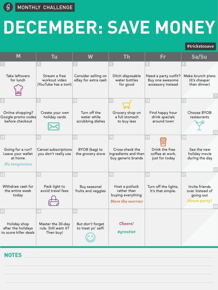 December Save Money Monthly Challenge Calendar  #trickstosave #greatist