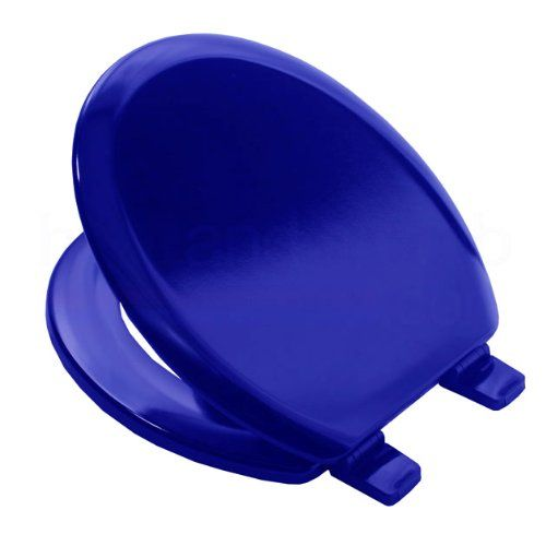 Bemis 5000 MARINE BLUE Coloured Moulded Wood Toilet Seat and Cover with Adjustable Plastic Hinges http://colouredtoiletseats.com #addingcolourtoyourbathroom