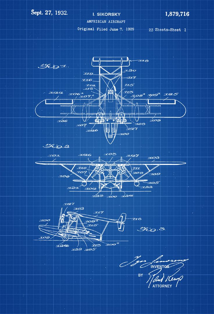 A patent print poster of an Amphibian Aircraft invented and designed by the famous aircraft designer Igor Sikorsky. The patent was issued by the United States Patent Office on September 27, 1932. Sikorsky, was a Russian American aviation pioneer in both helicopters and fixed-wing aircraft. Sikorsky founded the Sikorsky Aircraft Corporation in ...