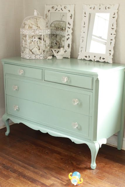 color: benjamin moore's azores (a pottery barn color) I MUST repaint my vintage dressers in this!