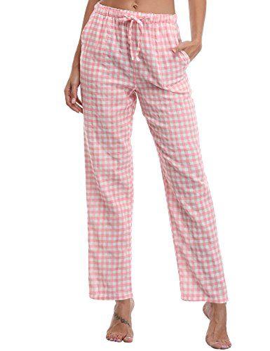 d05b89e0549eb9 Aibrou Damen Schlafanzughose Pyjamahose Nachtwäsche Hose Baumwolle Lang Sleep  Hose Pants Kariert (L Rosa)