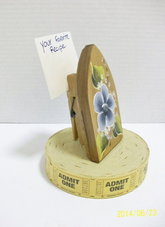 Recipe Card Holder Hand Painted Wooden Iron by ToletallyPainted
