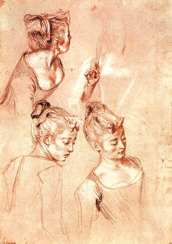 Antoine Watteau - Three studies of a girl - drawing with red, black and white chalks