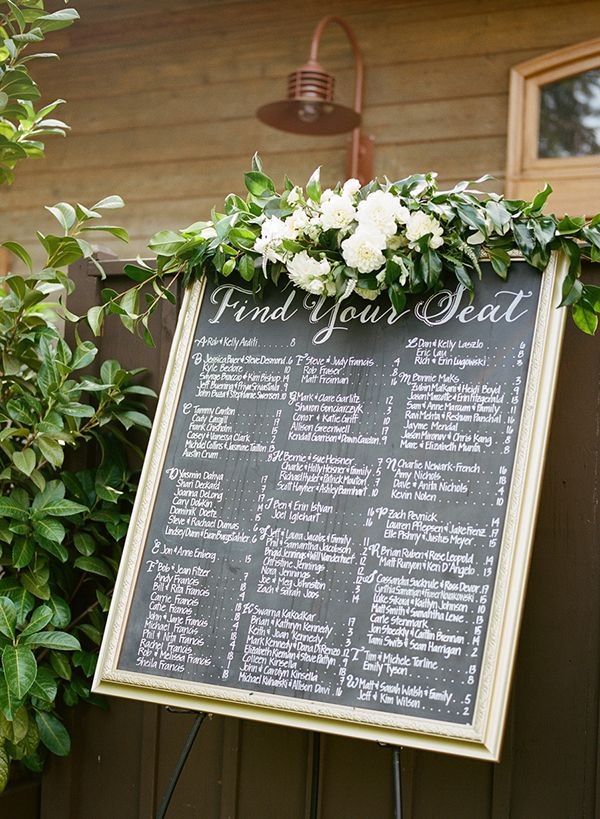 Find Your Seat - A beautiful seating chart display to help your guests find their tables! Photo: @chrissymcneill / Event Planning & Design: Stacy McCain Events / Floral Design: Loop Flowers / Calligraphy: BeeCurious Designs #escortcards #seatingchart