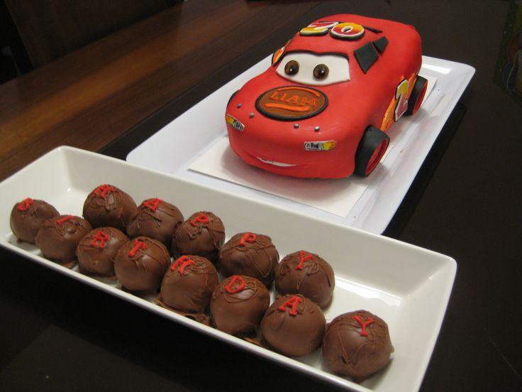 """Happy Birthday"" chocolate cake balls with ""Cars"" Ispired Custom Cake (Ann Reardon Design), Chocolate Cake with Chocolate Ganache filling - Cocoabai Cakes"