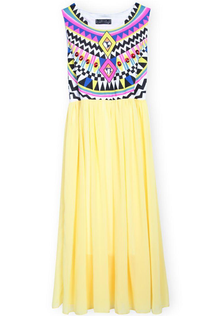 Yellow Sleeveless Geometric Tribal Print Chiffon Dress