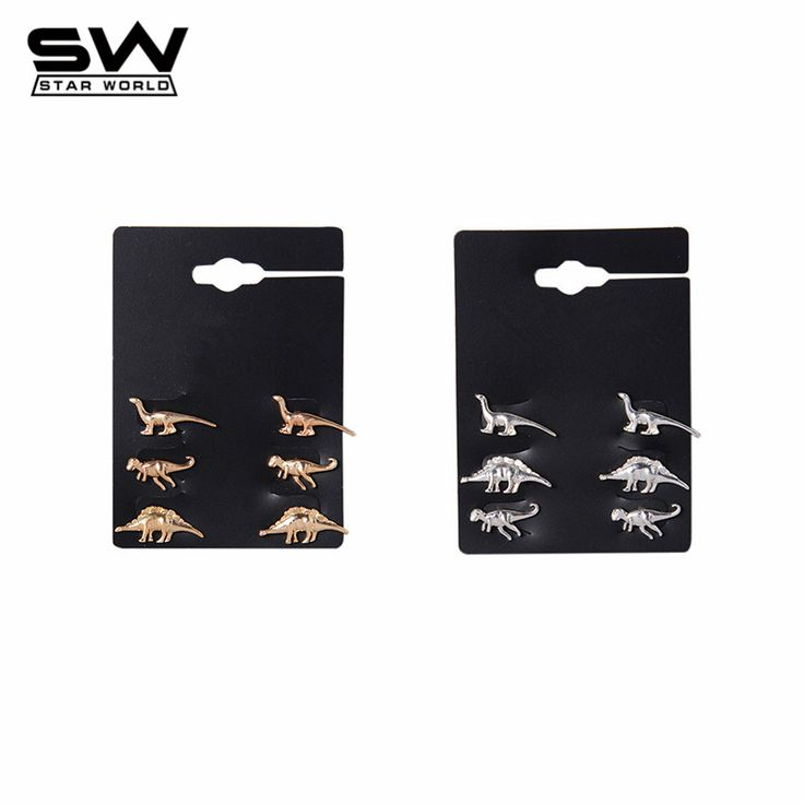 STARWORLD fine stud earrings animal dinosaur metal stud earring wedding engagement jewelry earrings for women men 3 Pairs/Set -- Be sure to check out this awesome product.