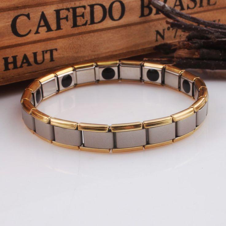 Charm Health Men's Titanium Bracelets Jewelry Germanium Far Infrared Magnets Elements Elasticity  Bracelet Golde Silver Plated