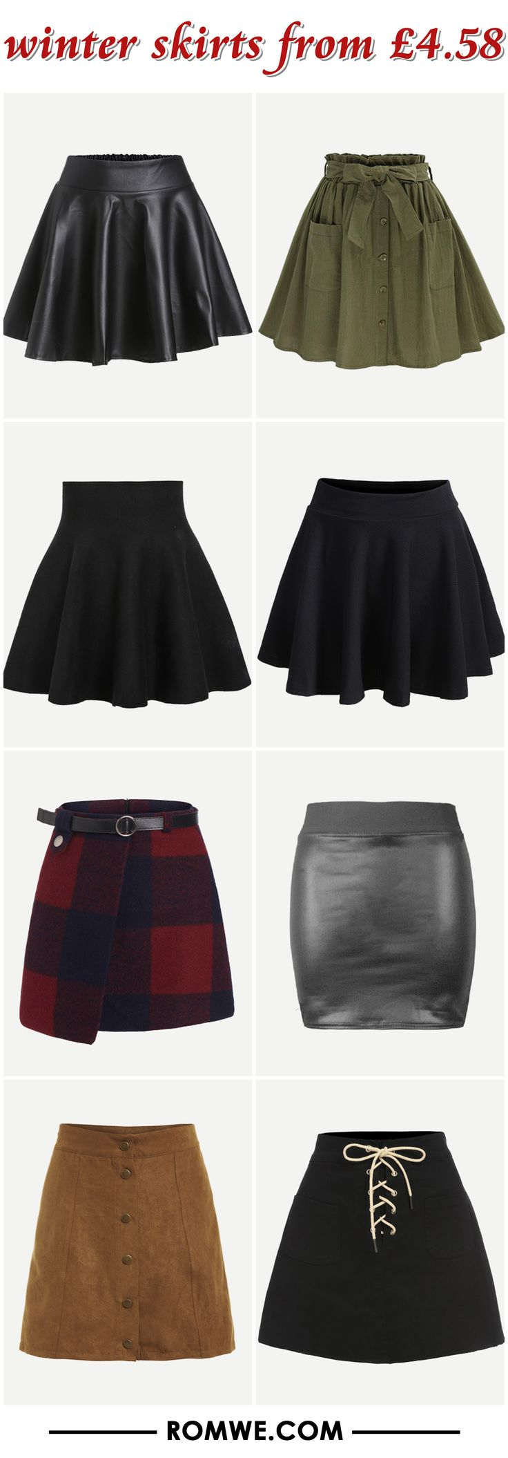 winter skirts from romwe.com