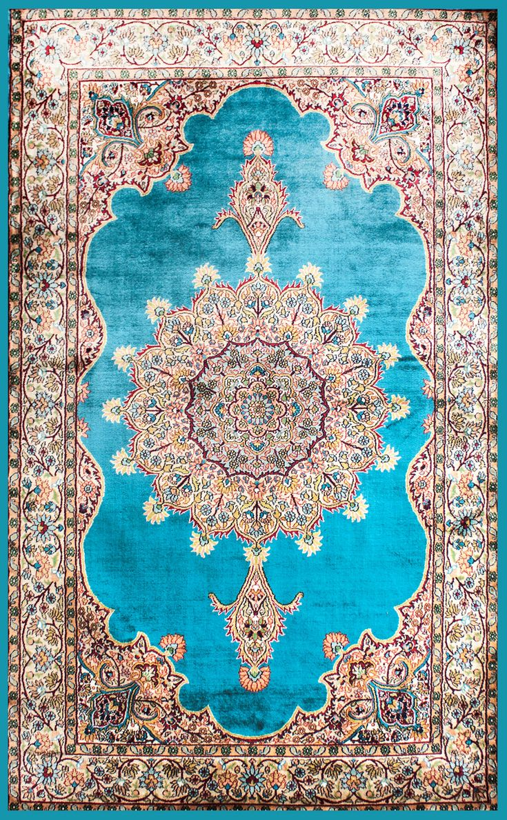 Pure Silk Rug strong fiber not resilient. luster, denier are used to contrast wool field or ground. more expensive than wool, flame resistant, not economical or durable for commercial. dry clean only.