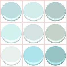"BENJAMIN MOORE - ""THE BEACH BLUES "": BIRDS EGG, CLEAR SKIES, GOSSAMER BLUE, ICEY MOON DROPS, OCEAN AIR, PALLADIAN BLUE, SEAFOAM, SERENITY, TRANQUIL BLUE."
