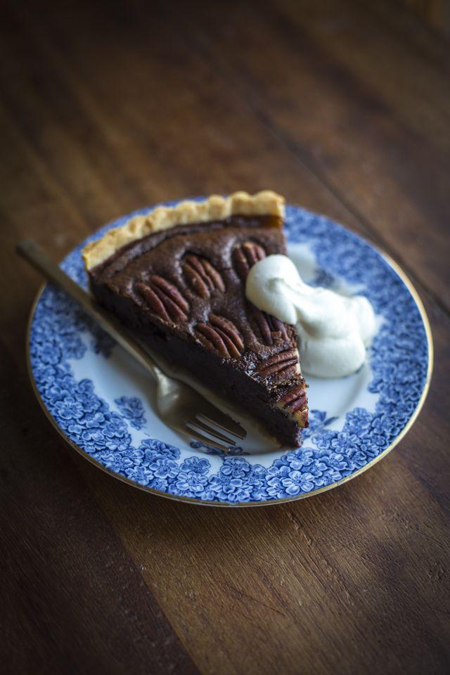 Chocolate Pecan Pie | DonalSkehan.com, Traditional pecan pie with a chocolatey twist.