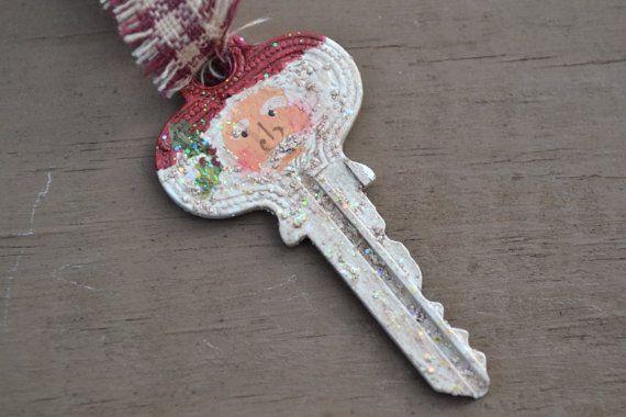 Handgeschilderde Santa sleutel Ornament / van coriekline op Etsy