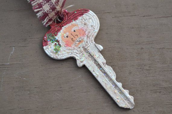 Hand Painted Santa Key Ornament by coriekline on Etsy, $8.00