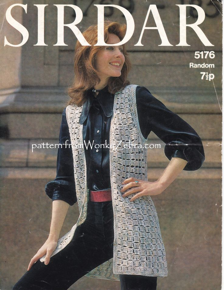 WZ928 crochet waistcoat pattern from WonkyZebra.comClassic seventies styling in a block stitch texture-easy and quick to crochet.PDF from an original Sirdar5176 pattern.