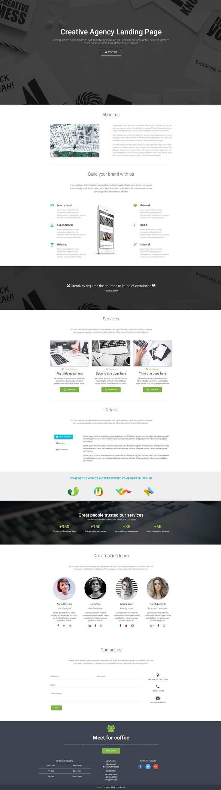 Creative Landing Page Template, made with Material Design for Bootstrap