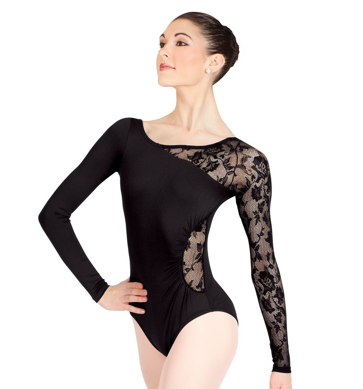Black dress quarter sleeve leotards