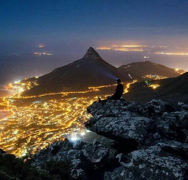 The view of Lions Head, there's a small Island out in the water on the top left. That's Robben Island.
