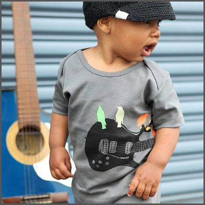 Grey 'Guitar Birds' Knit Tee. One of the most unique boys tees, this shirt is definitely rockin'! Stretchy soft and super cool, this is sure to be one of his favourite t-shirts! Decorated with a black wrap-around guitar and added colour with perched feathered friends. Rock-out mini man! It's made of super-soft stretchy cotton and is machine washable!