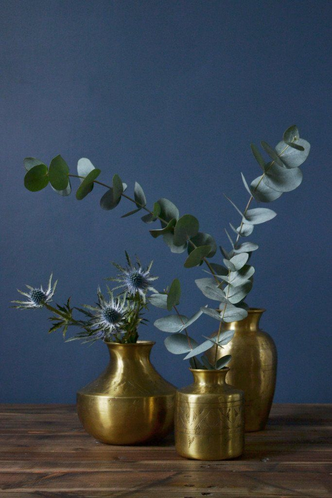 Small hand-etched brass vases - Decorator's Notebook shop