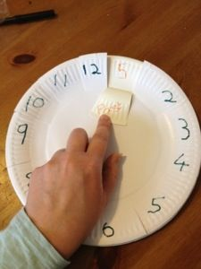 Teaching time with paper plates-- cut edges and flip open to show minutes past the hour