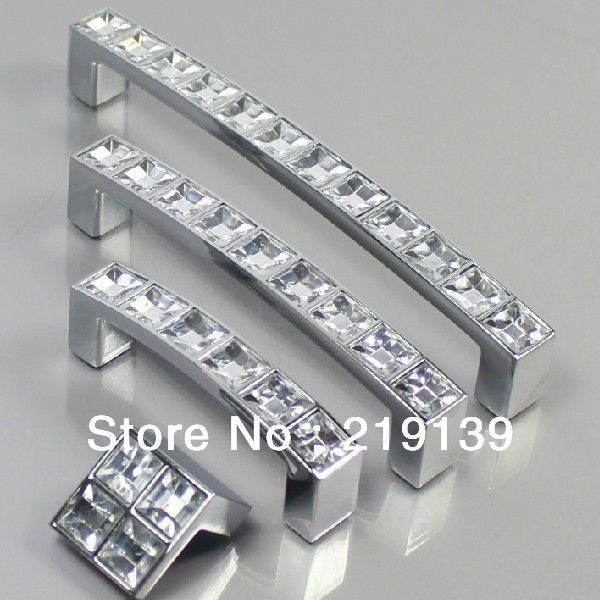 64mm Clear Crystal Zinc Alloy Cabinet Door Knobs And Handles Drawer Morden Kitchen Pulls Bar