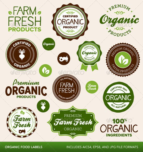 Organic food labels - Lovely exercise logo treatments and only $5.