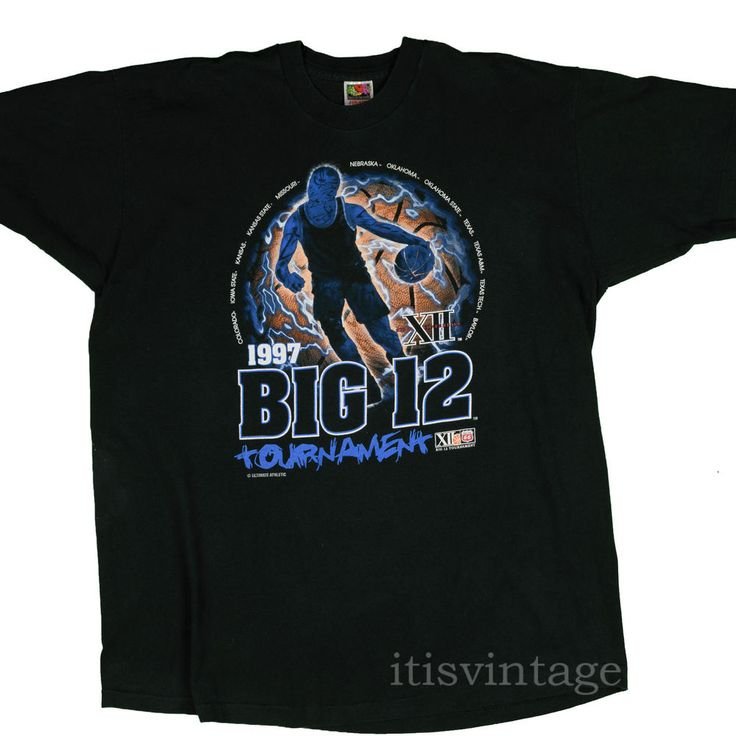 Big 12 NCAA T Shirt 1997 Vintage Phillips 66 College Basketball XXL KU MU Texas  #big12 #basketball #itisvintage #90s #ncaa #phillips66