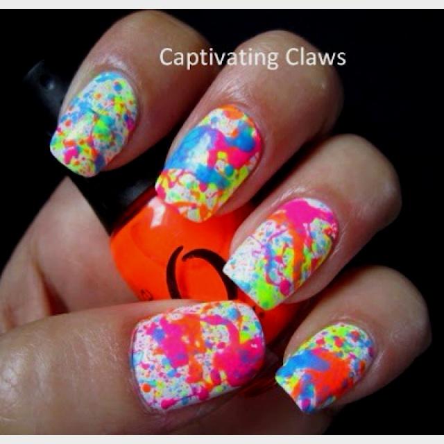 Splatter paint nail art.♥ | SuMmEr FuN | Pinterest | Nail ...