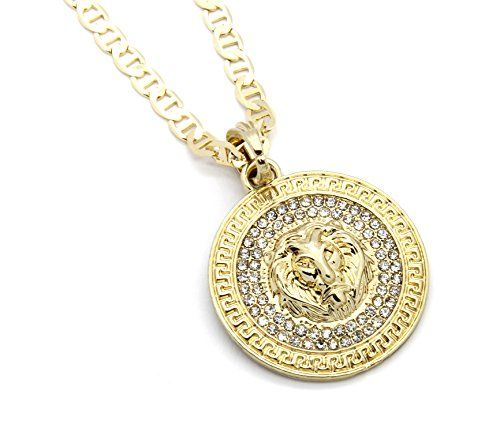 "Mens Medallion Pattern Lion Gold Plated 24"" Gucci Chain Pendant Necklace - Jewelry For Her"