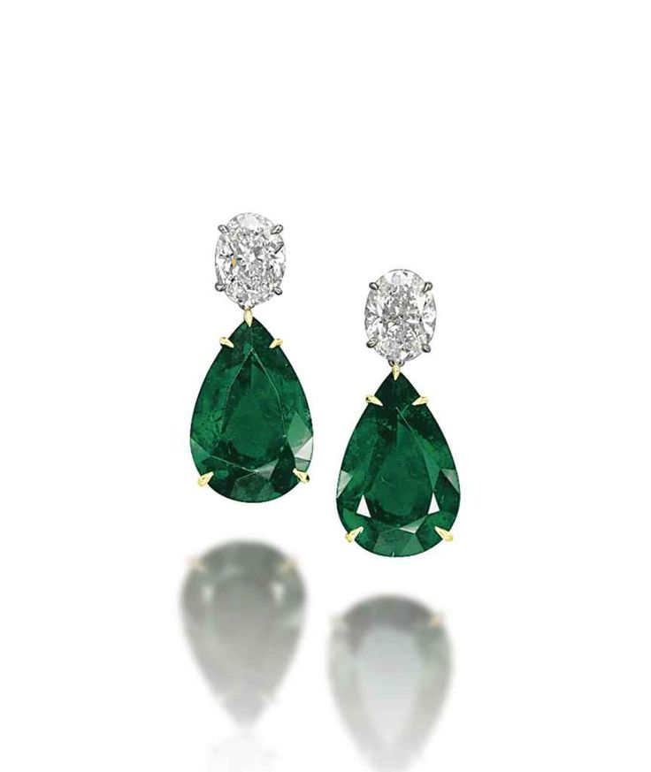 A pair of emerald and diamond earrings, by Chatila #christiesjewels