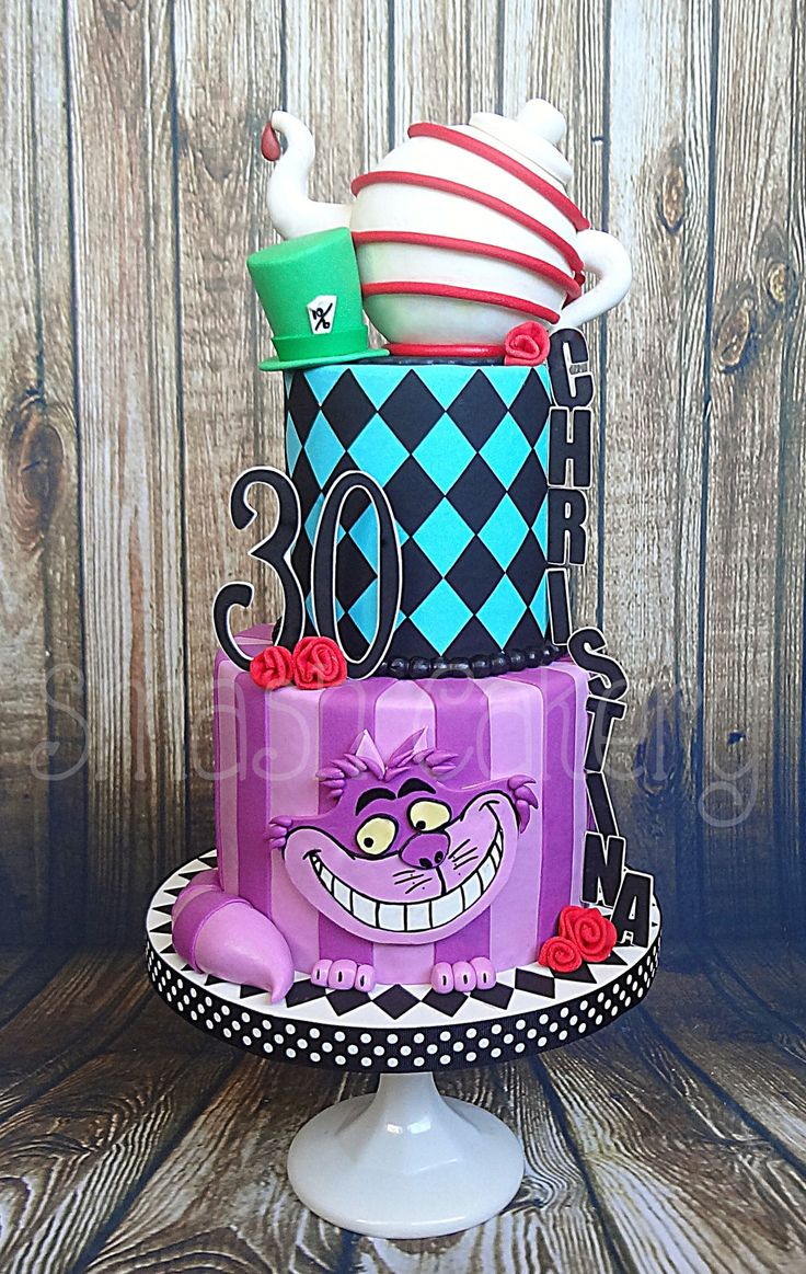 Mad Hatter Alice In Wonderland cake, Chesire Cat Cake, Teapot Cake. All fondant. Replica of original