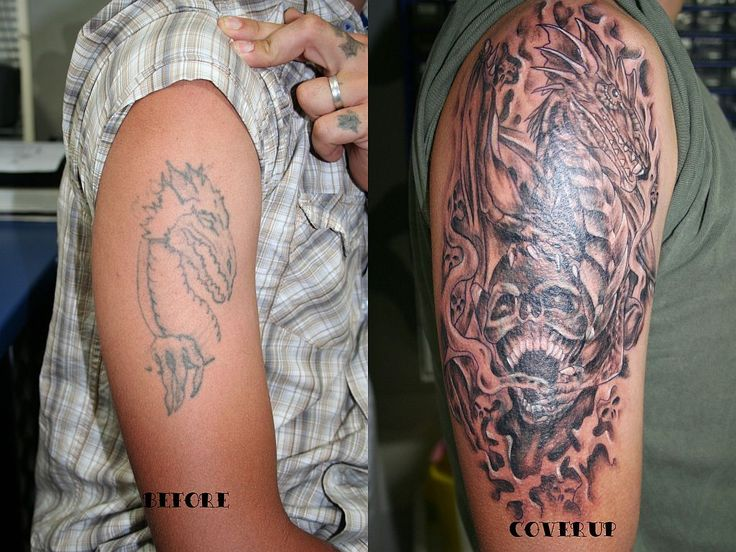 Lower back cover up tattoos dragon skull cover up tattoo for Cool cover up tattoos