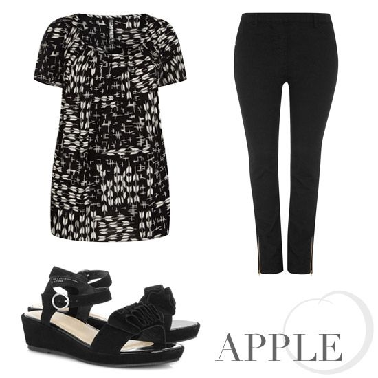 Style the monochrome trend for your shape. We've been putting together the best Apple shape pieces on the Evans Fashion Fix blog: http://blog.evans.co.uk/2013/04/04/spring-trends-how-to-wear-monochrome/