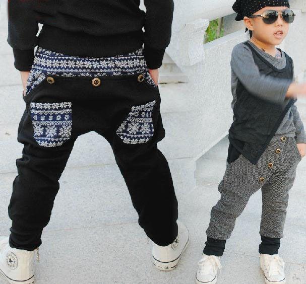 Nueva moda ropa de los niños Harem Hip Hop danza pantalones con paneles empalmadas pantalón bolsillos para niños punky(China (Mainland))