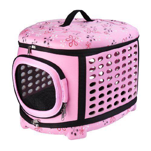 Amazon.com: Pawhut Soft Sided Collapsible Pet Dog / Cat Travel Carrier Bag - Pink: Pet Supplies