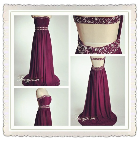 Long prom dress, Backless Evening Wear, Strapless Graduation Dress, www.fairyprom.com