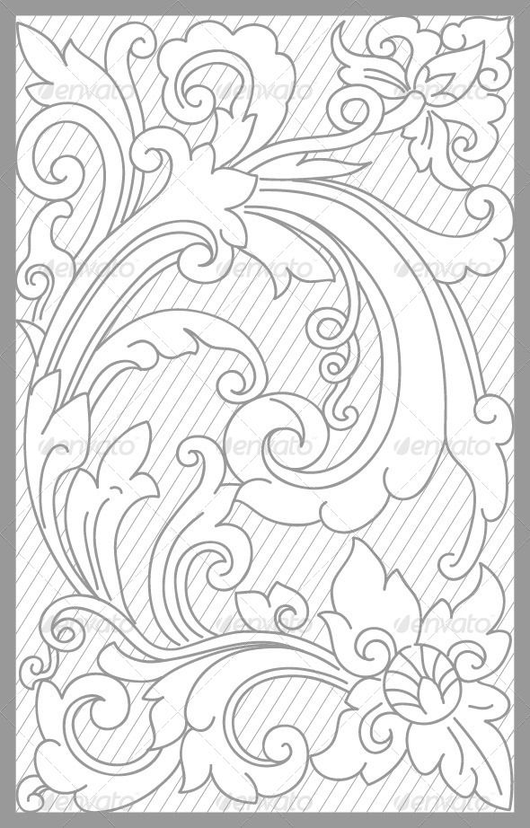 vector drawing of bali traditional floral set